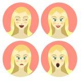 Mädchen, Frauengefühlcharakter, Freude, Glück, Überraschung, Ärger, Gleichmut, Zeichentrickfilm-Figur, flache Art Lizenzfreie Stockfotos