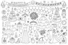 Mädchen-Geburtstags-Gekritzel-Satz Lizenzfreies Stockbild