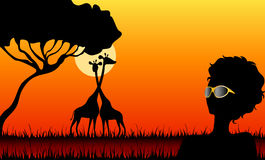 Mädchen gegen eine Abnahme in einer Safari lizenzfreie abbildung