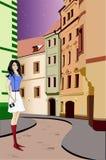 Mädchen geht auf eine Nachtstadt. Vektorabbildung. Lizenzfreies Stockfoto