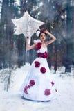 Mädchen geht in den Schnee lizenzfreies stockfoto