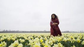Mädchen geht durch ein Feld von Blumen stock video footage