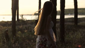 Mädchen geht in Wald am Sun stock video footage
