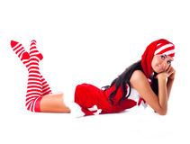 Mädchen gekleidet als Sankt stockbild