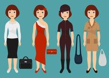 Mädchen gekleidet in den verschiedenen Ausstattungen Karikaturmodefrauen in der bunten Kleidung Auch im corel abgehobenen Betrag Stockfoto