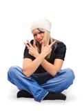 Mädchen gekleidet in einem Hip-hop Lizenzfreie Stockfotos