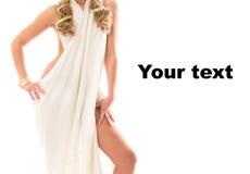 Mädchen gekleidet wie eine griechische Göttin Stockfoto