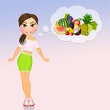Mädchen gesund durch das Essen der Frucht lizenzfreie abbildung