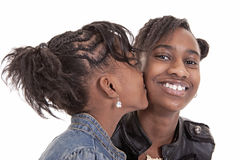 Ein Kuss auf der Backe Lizenzfreies Stockfoto