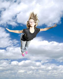 Mädchen-herausfordernde Schwerkraft Lizenzfreie Stockbilder