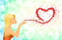 Mädchen-Herz-Zeichen-Liebes-Mitteilungen Stockbilder