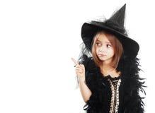 Mädchen in Hexenhalloween-Kostüm lizenzfreies stockfoto