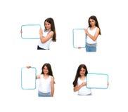 Mädchen-Holding-Zeichen Stockfotografie