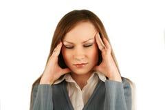 Mädchen hurted mit einem Kopf Stockbilder