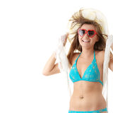Mädchen im Badeanzug mit weißem Schal auf Wind. Lizenzfreies Stockfoto