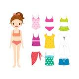 Mädchen im Bikini und in Kleidung eingestellt für Sommer lizenzfreie abbildung