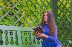 Mädchen im blauen Kleid ein Buch lesend, das auf einer Bank außerhalb der grünen Zaunnahaufnahme sitzt Stockfotos