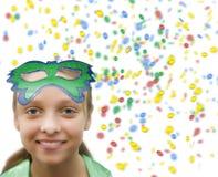 Mädchen im Confetti auf Weiß (1).jpg Lizenzfreie Stockfotos