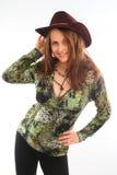 Mädchen im Cowboyhut Stockfotos