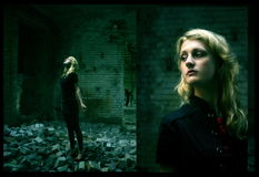Mädchen im Gebäudeschutt Stockfotos