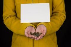 Mädchen im Gelb hält Münzen in den Händen und im leeren Blatt für das Schreiben, schwarzer Hintergrund, Nahaufnahme lizenzfreies stockfoto