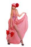 Mädchen im gestreiften Kleid Stockbilder