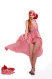 Mädchen im gestreiften Kleid Stockfotos