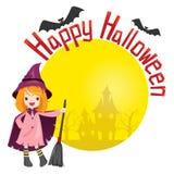 Mädchen im Halloween-Hexekostüm Stockfotos