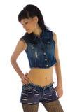 Mädchen im Jeanshemd Stockbilder