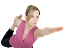 Mädchen im König Dancer Yoga Pose Stockbild
