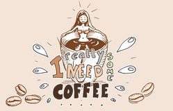 Mädchen im Kaffeebad - ein Tasse Kaffee lizenzfreies stockbild
