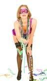 Mädchen im Karneval, der Korne gibt Lizenzfreies Stockbild