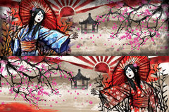 Mädchen im Kimono Stockfoto