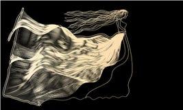 Mädchen im Kleid der Zusammenfassung bewegt auf ein Schwarzes wellenartig Stockfotografie