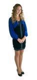 Mädchen im Kleid des Blaus und des Schwarzen lizenzfreie stockfotografie