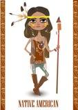Mädchen im Kostüm des amerikanischen Ureinwohners Stockfotografie