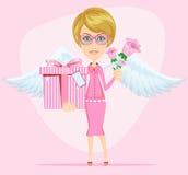 Mädchen im Rosa gibt Blumen und Geschenk, Vektor Lizenzfreies Stockfoto