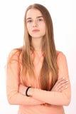 Mädchen im rosafarbenen Hemd Abschluss oben Weißer Hintergrund Lizenzfreies Stockfoto