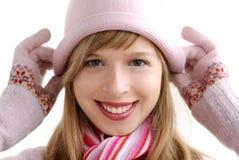 Mädchen im rosafarbenen Hut Stockbild