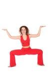 Mädchen im Rot, eine weitere Yogaübung Lizenzfreies Stockbild