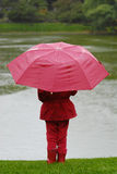 Mädchen im Rot unter dem Regen Lizenzfreies Stockfoto