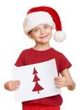 Mädchen im roten Hut mit Buchstaben zu Sankt - Winterurlaubweihnachtskonzept Stockfotos
