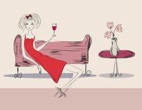 Mädchen im roten Kleid an der Party Lizenzfreie Stockfotografie