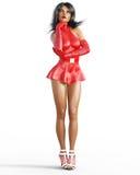 Mädchen im roten ledernen Kleid Kurzer Rock lizenzfreie abbildung