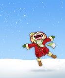 Mädchen im Schnee-roten Mantel - einfacher Hintergrund stock abbildung