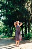 Mädchen im Schwarzweiss-Kleid in der Natur auf einem Hintergrund von Kiefern Stockfotografie