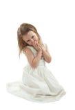 Mädchen im Weiß Stockfotos