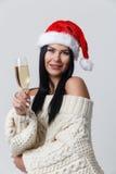 Mädchen im Weihnachten mit Champagner Stockbilder