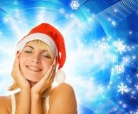 Mädchen im Weihnachtshut Lizenzfreies Stockbild