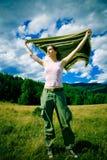 Mädchen im Wind lizenzfreies stockbild